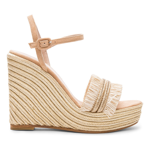 CARMELINAS Mia Wedge - Suede upper with leather sole. Ankle strap with buckle...