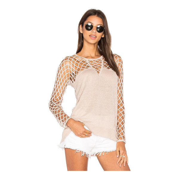 CENTRAL PARK WEST Aurora Open Knit Sweater - 100% linen. Hand wash cold. Netted shoulders and sleeves....