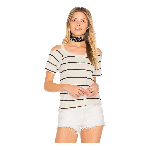 CHASER Cold Shoulder Raglan Tee - 60% cotton 40% modal. Shoulder cut-outs. Raw cut edges....