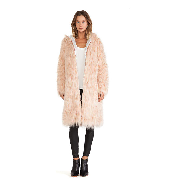CHASER Hooded faux fur coat - Self & Lining: 100% poly. Zip front closure. Hooded. Faux...