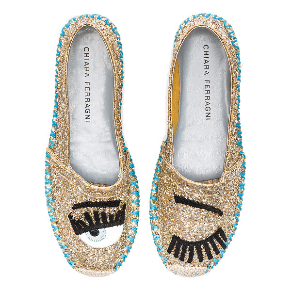 CHIARA FERRAGNI Contrast stitching espadrille - Glittered leather upper with leather sole. Slip-on styling....