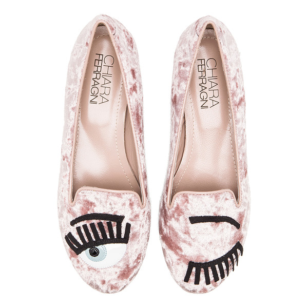 CHIARA FERRAGNI Flirting flat - Velvet upper with leather and man made sole. Front patch...