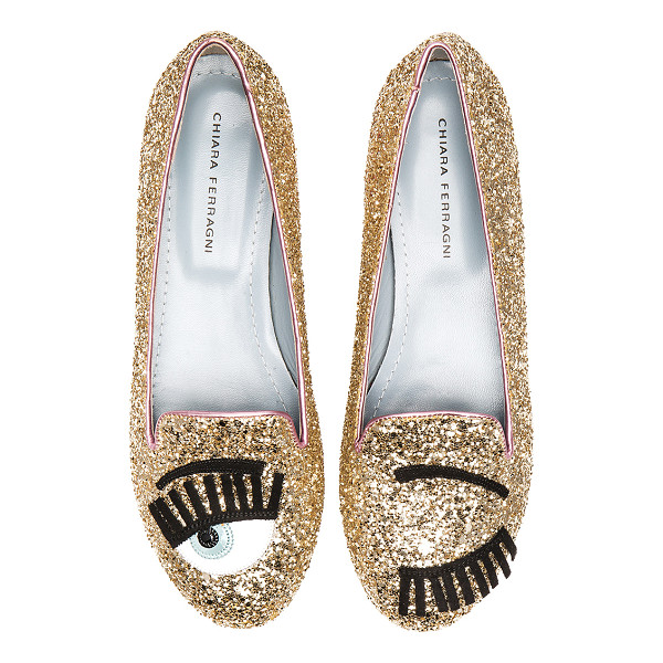 CHIARA FERRAGNI Flirting sleeper loafer - Glittered leather upper with leather and rubber sole. Front...