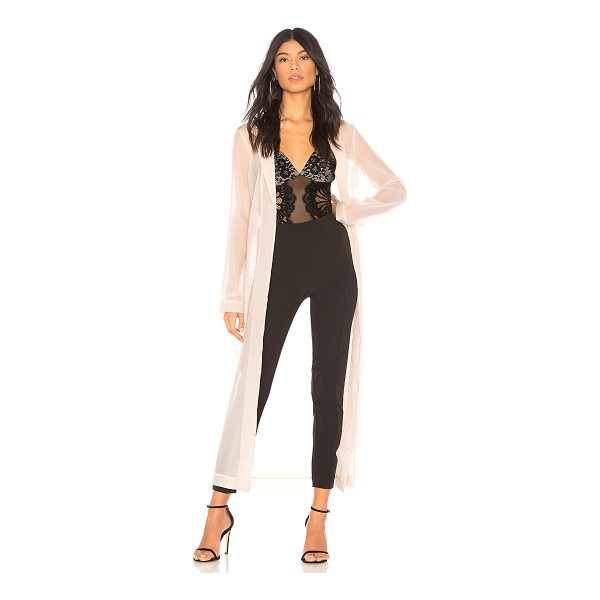 CHRISSY TEIGEN x REVOLVE Muse Duster - 100% poly. Hand wash cold. Open front. Semi-sheer fabric....