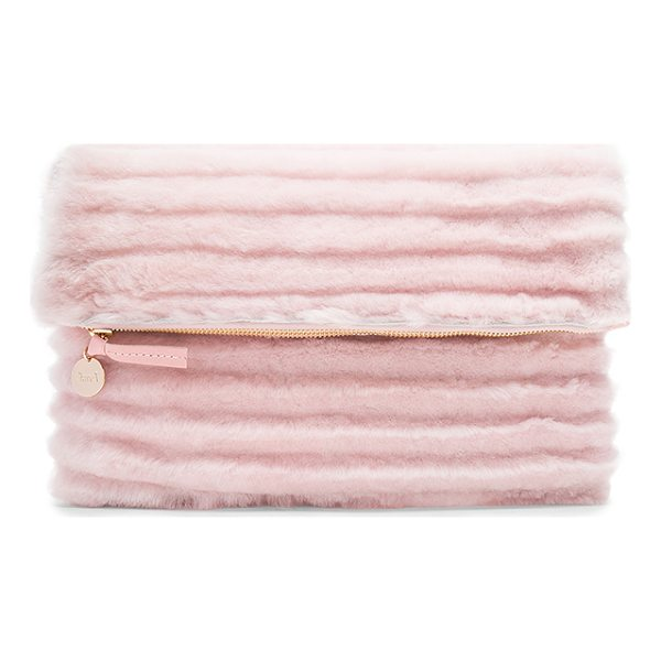 CLARE V. Foldover Clutch - Dyed shearling exterior with denim fabric lining. Zip top...