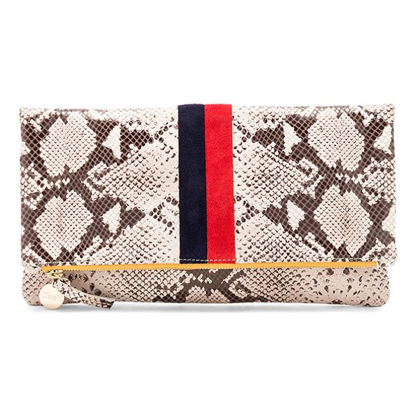 CLARE V. Foldover Clutch - Snake embossed leather exterior with cotton fabric lining....