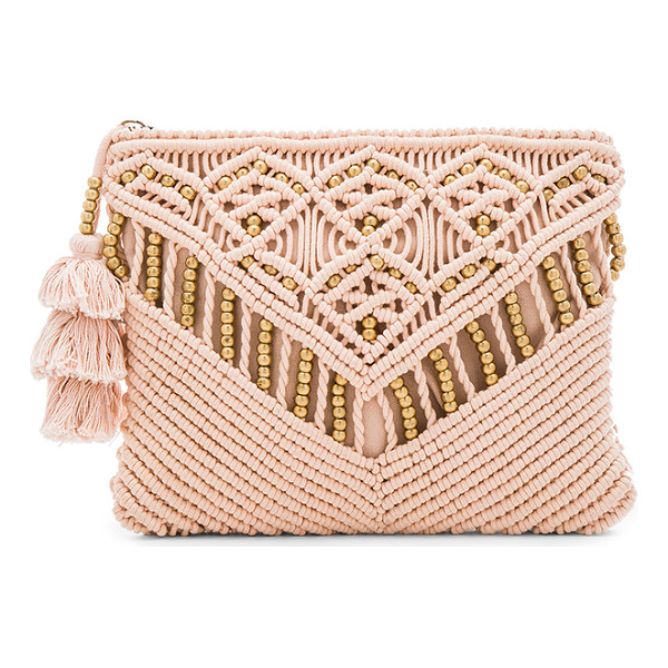 CLEOBELLA Sevigny Clutch - Woven cotton exterior with cotton fabric lining. Zip top...