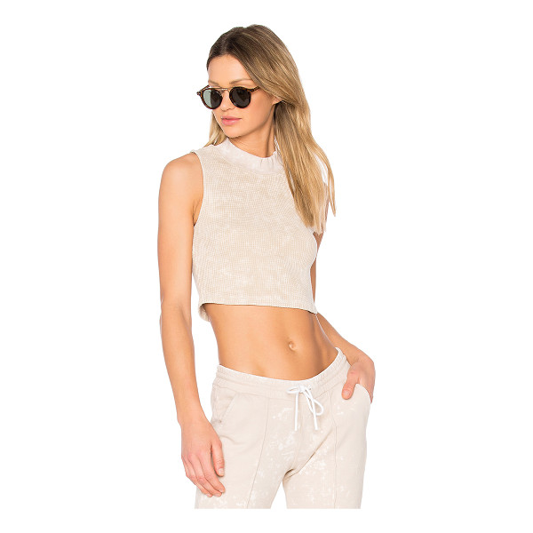 COTTON CITIZEN The Monaco Crop Tank - 100% cotton. Distressed edges. Thermal knit fabric....