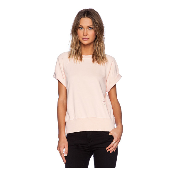CURRENT/ELLIOTT The rolled sleeve sweatshirt - Cotton blend. Banded edges. Cuffed sleeves. Distressed...