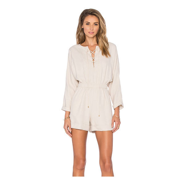 DEREK LAM 10 CROSBY Lace Up Romper - Linen blend. Dry clean only. Front lace-up tie closures....
