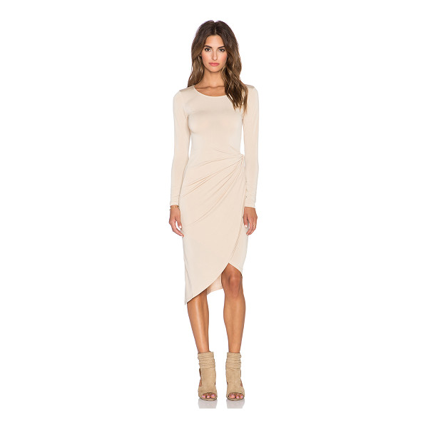DONNA MIZANI Knot Front Midi Dress - 95% poly 5% spandex. Dry clean only. Unlined. DONN-WD207....