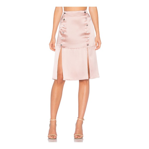 """DREAM Kylie Midi Skirt - """"100% silk. Dry clean only. Unlined. Front button closures...."""