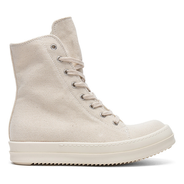 """DRKSHDW BY RICK OWENS Vegan Sneakers - """"Canvas upper with rubber sole. Side zip closure. Lace-up..."""