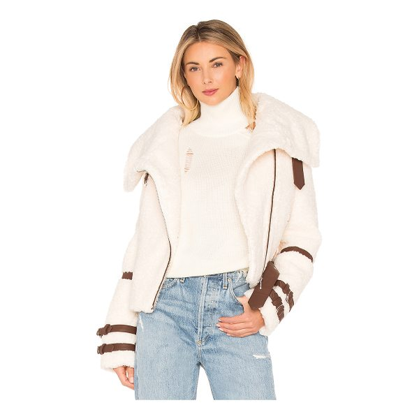 EAVES Bailey Moto Jacket - Faux Fur, Back & Lining: 100% poly. Dry clean only. Faux...
