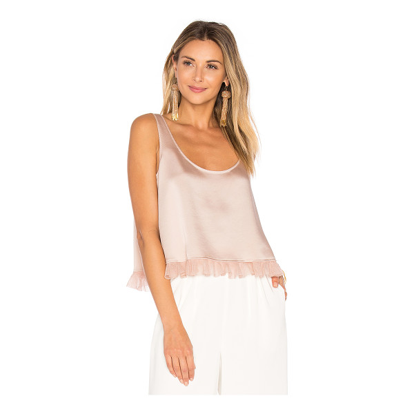 ELIZABETH AND JAMES Andrea Crop Top - Poly blend. Dry clean only. Ruffle trimmed hem. EAND-WS418....