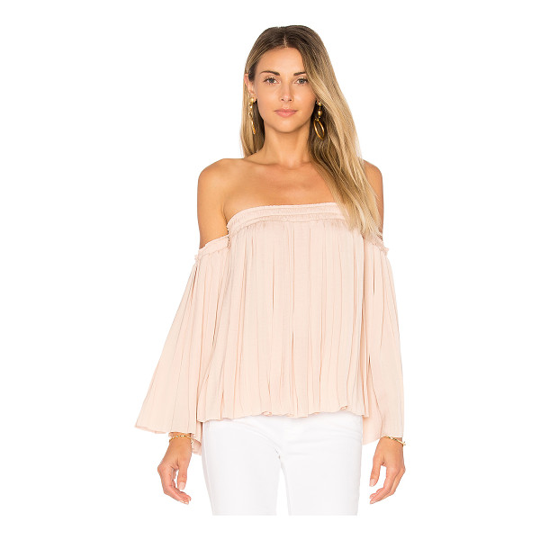 ELIZABETH AND JAMES Emelyn Pleated Top - 100% poly. Dry clean only. Smocked elastic neckline and arm...
