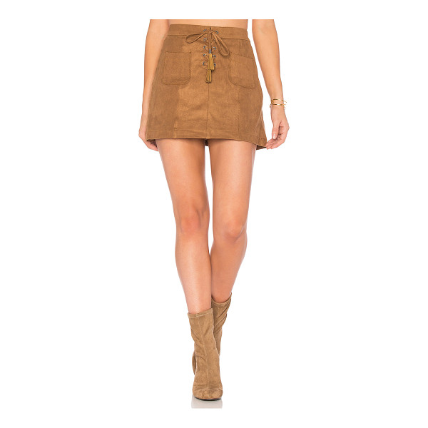 ELLA MOSS Connelly Faux Suede Skirt - Self: & Contrast: 90% poly 10% spandexContrast: 100% rayon....