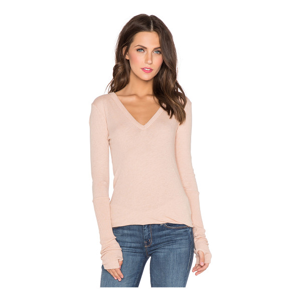 ENZA COSTA Cashmere cuffed v neck long sleeve tee - 85% cotton 15% cashmere. Hand wash cold. Rib knit edges....