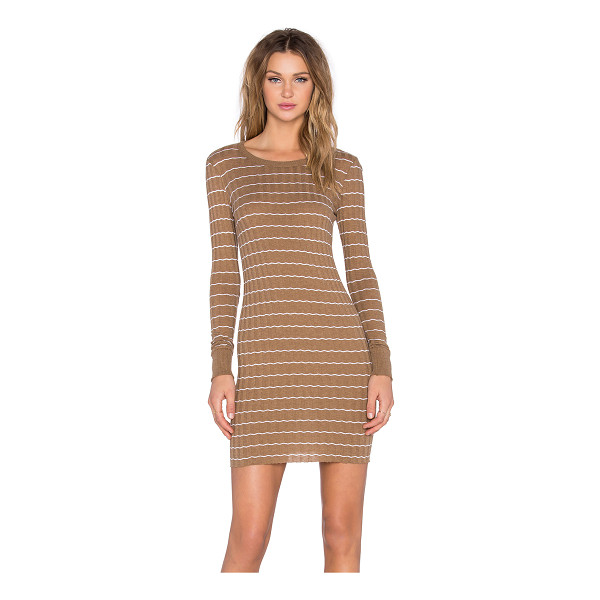 ENZA COSTA Cashmere long sleeve mini dress - Cotton blend. Hand wash cold. Unlined. Rib knit fabric....