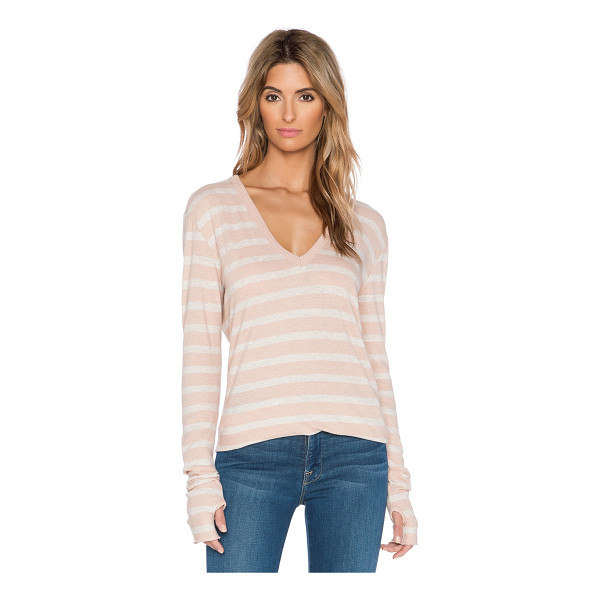 ENZA COSTA Cashmere loose v neck long sleeve tee - Cotton blend. Hand wash cold. Rib knit edges. ENZA-WS503....