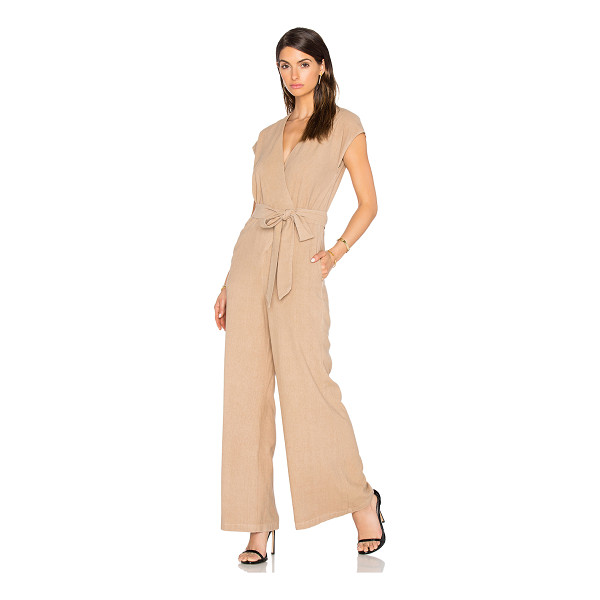 ENZA COSTA Silk Noil Wrap Tie Jumpsuit - 100% poly. Dry clean only. Waist tie. Side seam pockets....