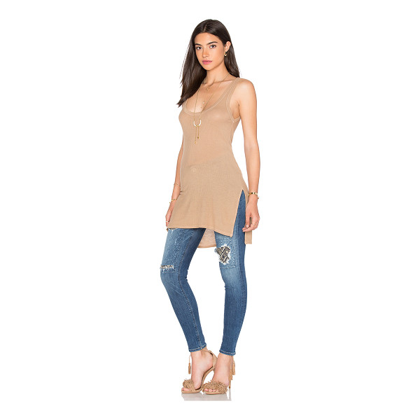 ENZA COSTA Silk rib jersey side slit tank - 90% rayon 10% silk. Rib knit fabric. Side slit detail....