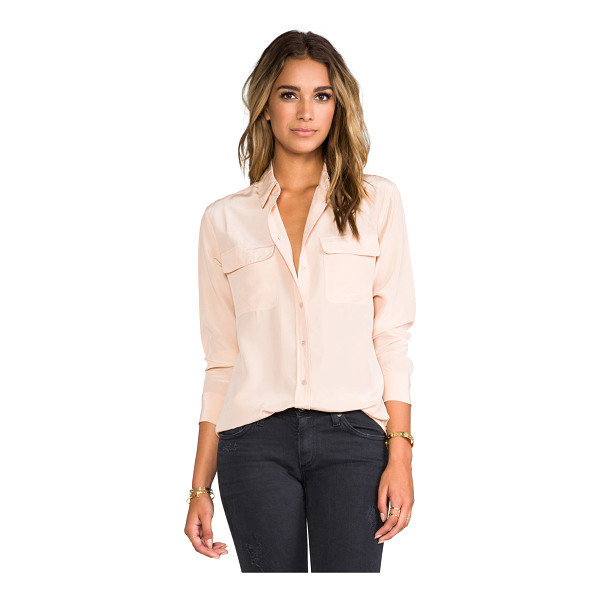 EQUIPMENT Signature Blouse - 100% silk. Dry clean only. Button front. Front flap...