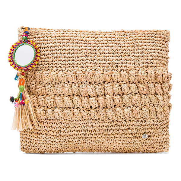 "FLORABELLA Muga Clutch - ""Woven raffia exterior and lining. Zip top closure with..."