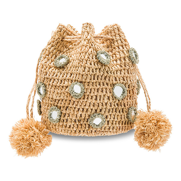 """FLORABELLA Tangier Bag - """"Woven raffia exterior and lining. Metallic trimmed mirror..."""