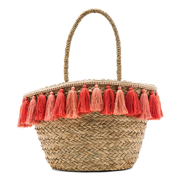 FLORABELLA Wilmington Tote - Woven raffia exterior and lining. Open top. Fringed tassel