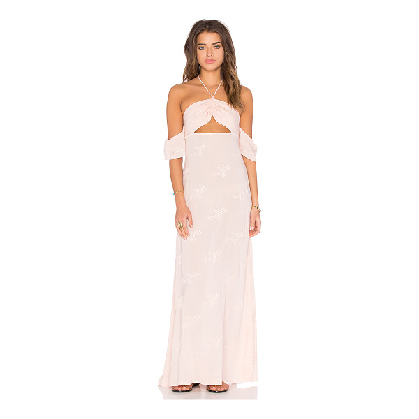FLYNN SKYE Err Night Maxi Dress - 100% rayon. Dry clean only. Unlined. Halter strap ties...