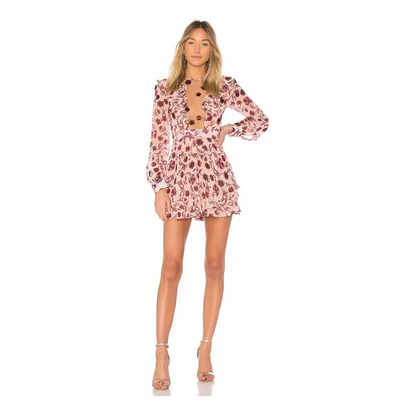 FOR LOVE & LEMONS Agnes Mini Dress - Poly blend. Dry clean only. Fully lined. Sheer mesh inset...