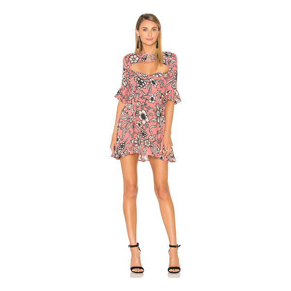 FOR LOVE & LEMONS Ayla Laced Up Dress - Poly blend. Dry clean only. Partially lined. Front cut-out...
