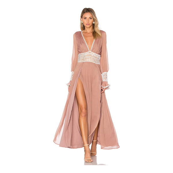 FOR LOVE & LEMONS Celine Maxi Dress - Self: 53% silk 47% viscoseLining: 97% poly 3% spandex. Dry...
