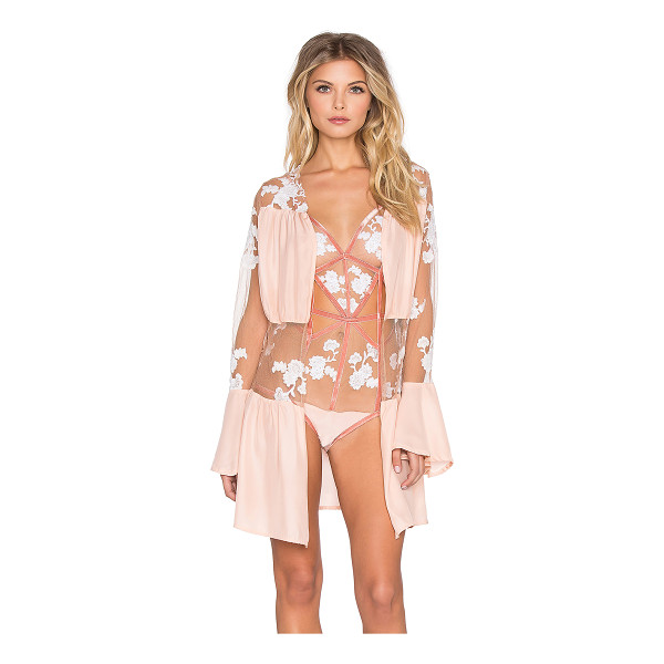 FOR LOVE & LEMONS Darla silk robe - Nylon blend. Hand wash cold. Waist tie front closure. Sheer...