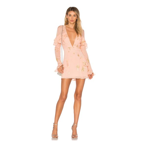 FOR LOVE & LEMONS Gilded Star Mini Dress - Self: 90% silk 10% nylonLining: 97% poly 3% spandex. Dry...