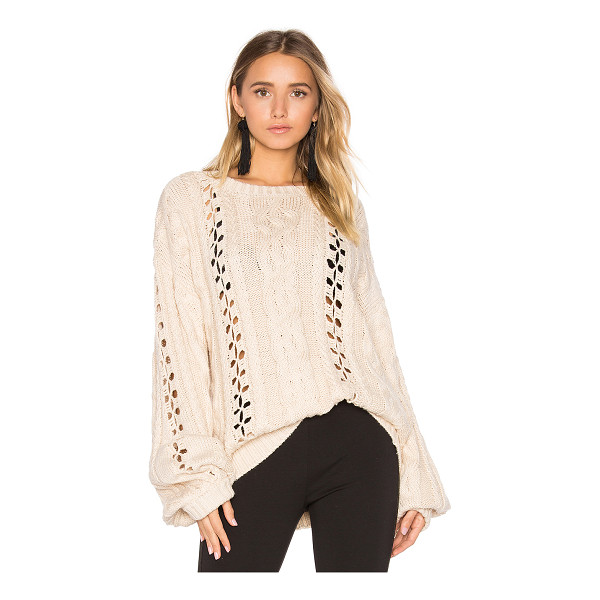 FOR LOVE & LEMONS KNITZ Wythe Bell Sleeve Sweater - 55% cotton 45% acrylic. Ribbed trim. FORL-WK42. KFA16T201....