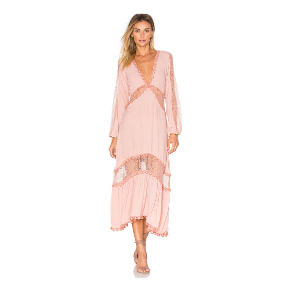 FOR LOVE & LEMONS Lilou Dress - Poly blend. Hand wash cold. Unlined. Waist tie. Contrast...