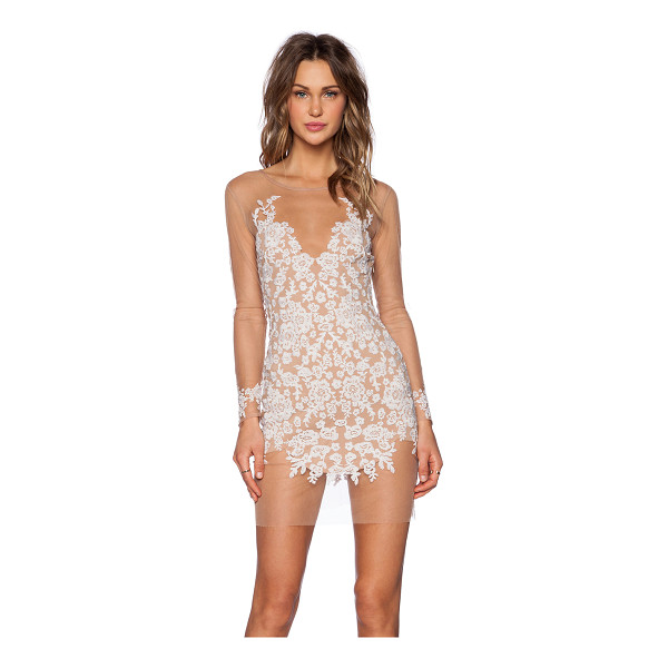 FOR LOVE & LEMONS Luau mini dress - Poly blend. Hand wash cold. Fully lined. Embroidered mesh...