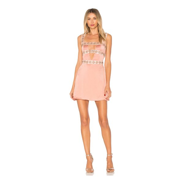 FOR LOVE & LEMONS Opal Beaded Mini Dress - Silk blend. Dry clean only. Fully lined. Cut-out front...