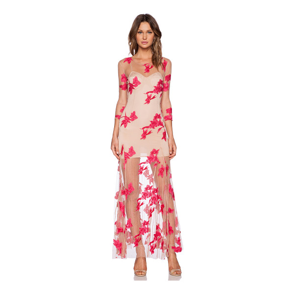 FOR LOVE & LEMONS Orchid maxi dress - Nylon blend. Partially lined. Embroidered floral...