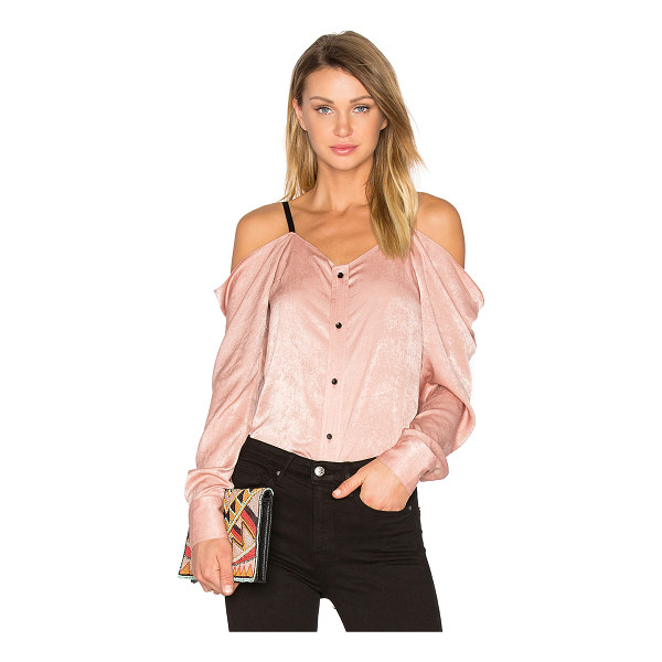 FRANKIE Satin Off The Shoulder Top - 100% poly. Dry clean only. Front button closure. Contrast...