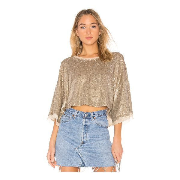 FREE PEOPLE Champagne Dreams Tee - 100% nylon. Hand wash cold. Sequined throughout. Sheer mesh...