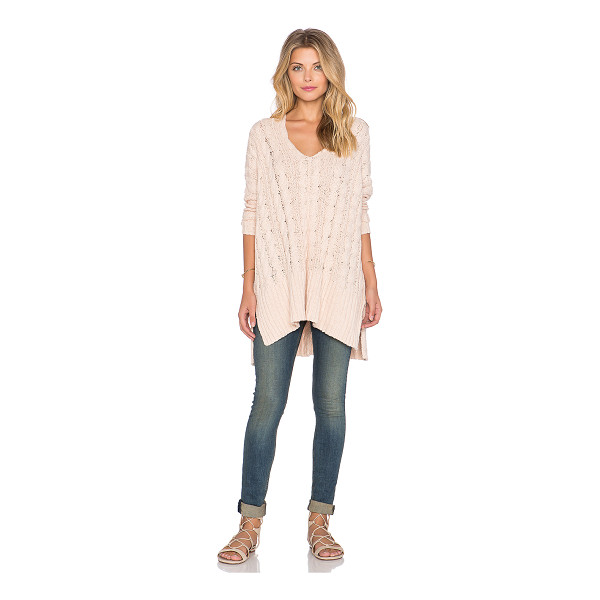 FREE PEOPLE Easy cable v neck sweater - 100% cotton. Hand wash cold. Cable knit with ribbed trim....