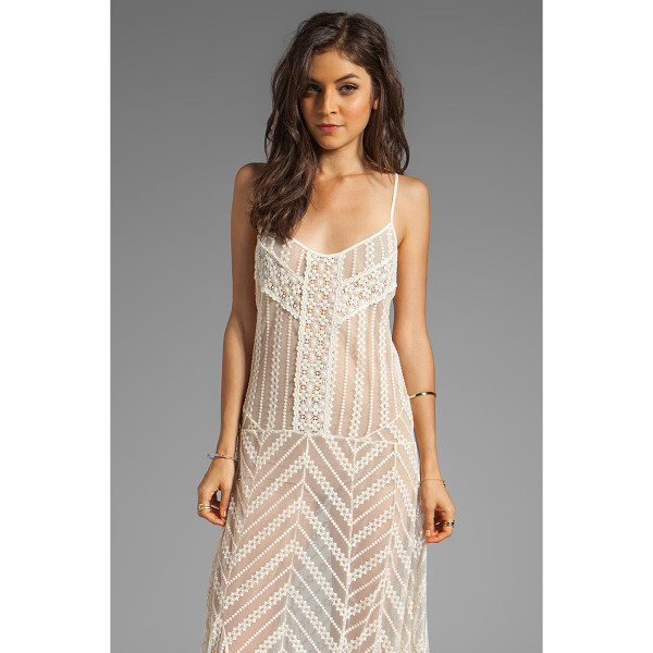 FREE PEOPLE Meadows of lace slip maxi dress - 57% cotton 43% nylon. Unlined. Crochet lace overlay. Criss...