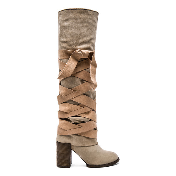 FREE PEOPLE Paradiso wrap boot - Suede upper with rubber sole. Leather wrap detail with tie...