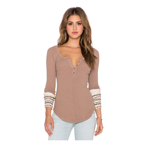 FREE PEOPLE Ski lodge cuff thermal - Body: 57% cotton 38% poly 5% spandexContrast: 53% cotton...