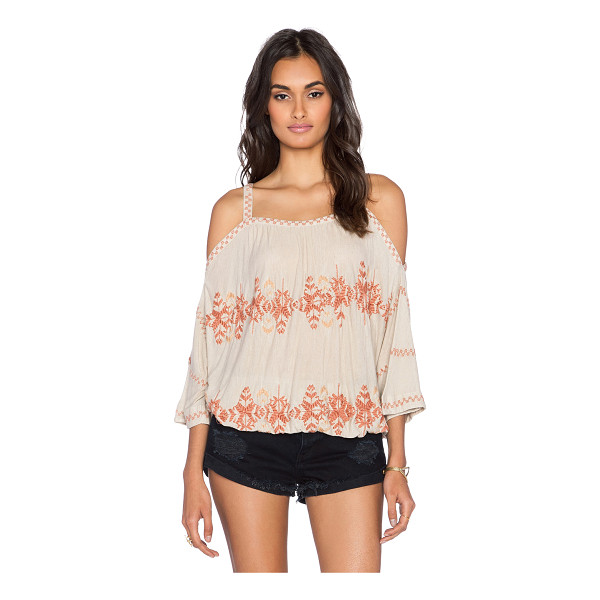 FREE PEOPLE South by southwest top - 85% viscose 15% linen. Elasticized waist. Embroidered trim....