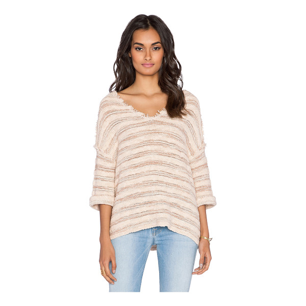 FREE PEOPLE Spells trouble stripe pullover - 92% cotton 8% nylon. Hand wash cold. Frayed trim....