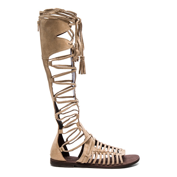 FREE PEOPLE Sun Seeker Gladiator Sandal - Suede upper with rubber sole. Caged cut-out detail. Lace-up...